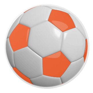 Orange & White Soccer Ball / Football Ceramic Knob