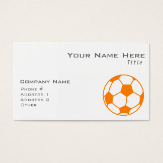 Orange & White Soccer Business Card