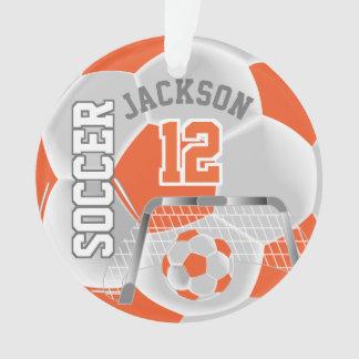 Orange & White Soccer Sport Ornament