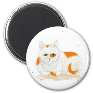 Orange & white spotted cat cute fun painting art magnets