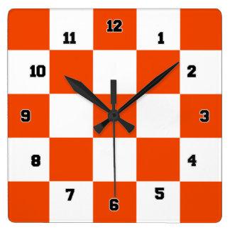 Orange White Squares Decorative Wall Clock