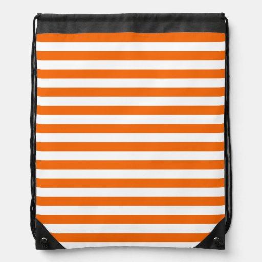 Orange & White Stripes; Striped Cinch Bag