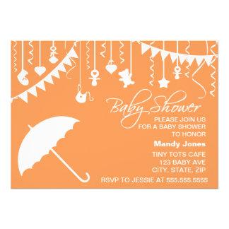 Orange white umbrella stylish modern baby shower invitation