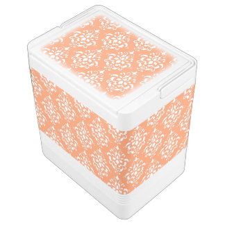 Orange White Vintage Damask Pattern 1 Igloo Cooler