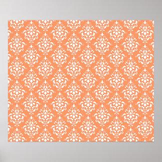 Orange White Vintage Damask Pattern 1 Poster