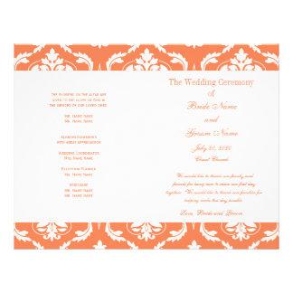 Orange White Vintage Damask Wedding Program 21.5 Cm X 28 Cm Flyer
