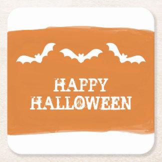 Orange White Watercolor Bats Halloween Square Paper Coaster
