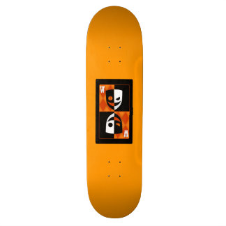 Orange Wilcard Faces Skateboard Deck