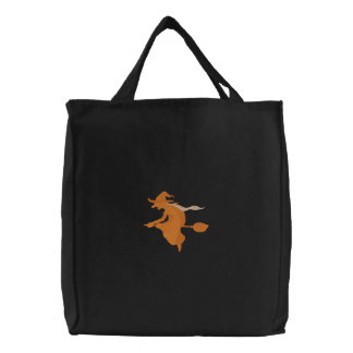 Orange Witch Flying On Broomstick Canvas Bags