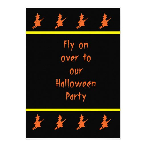 Orange Witch Halloween Invitation