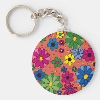 Orange with Brightly Colored Flowers Basic Round Button Key Ring