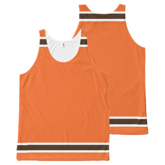 Orange with Brown and White Trim All-Over Print Tank Top