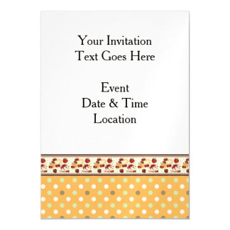 Orange With Green Dots Pattern With Border Magnetic Card