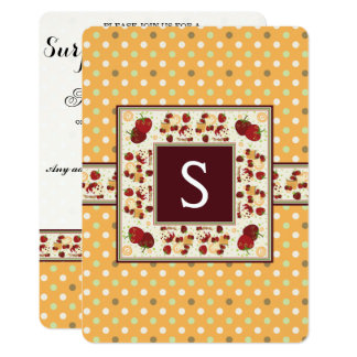 Orange With Green Dots Pattern With Initial Card