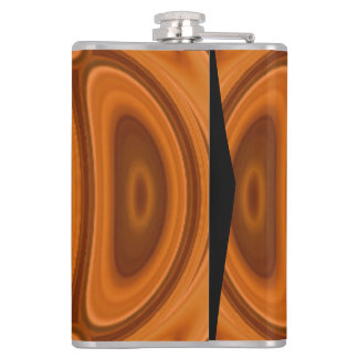 Orange wood abstract pattern hip flask