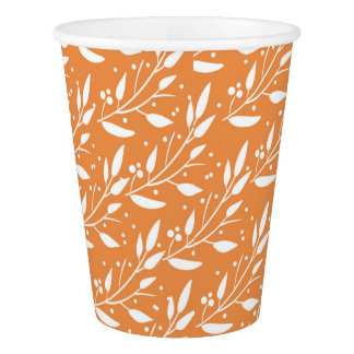 Orange Woodland Forest Baby Shower Paper Cups