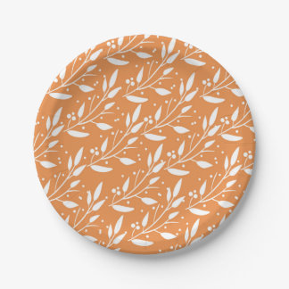 Orange Woodland Forest Baby Shower Plates 7 Inch Paper Plate