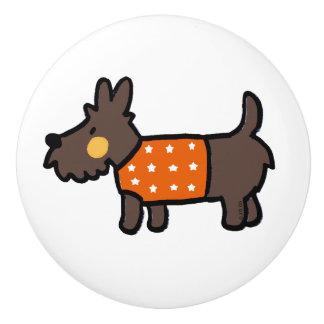 orange woolly jumper cute puppy ceramic knob