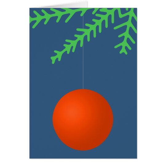Orange Xmas Tree Ball Ornament Card
