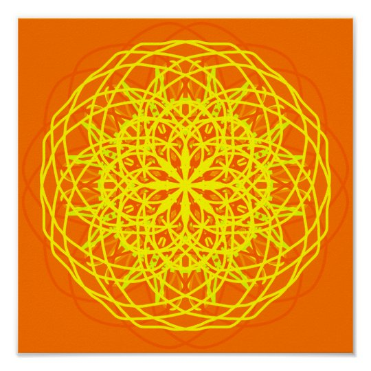 Orange Yellow Abstract Art Kaleidoscope Poster