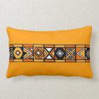Orange Yellow African art pillow