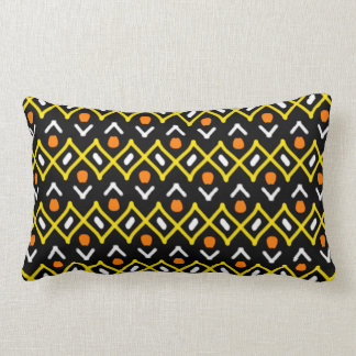 Orange Yellow and Black Abstract Tribal Pattern Lumbar Cushion