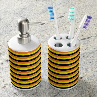 Orange, Yellow and Black Stripes Bathroom Set