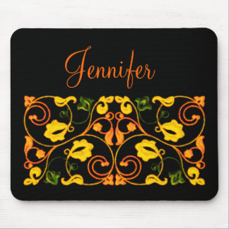 Orange Yellow and Green Vine with Name Mouse Pad