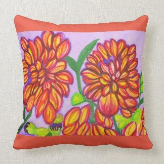 Orange, Yellow and Purple Dahlias Watercolor Throw Pillow
