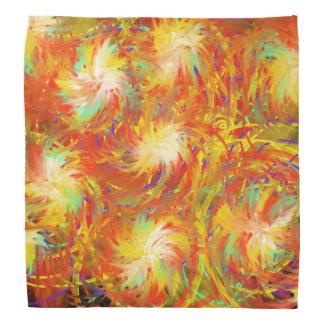 Orange Yellow Aqua Indie Abstract Art Design Bandana