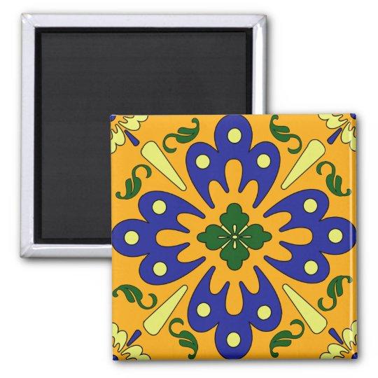Orange Yellow Blue Spanish Tile Kitchen Magnet