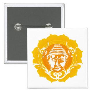 Orange & Yellow Buddha 15 Cm Square Badge