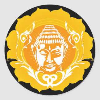 Orange & Yellow Buddha Classic Round Sticker