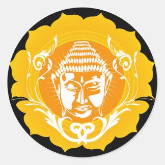 Orange & Yellow Buddha Round Sticker