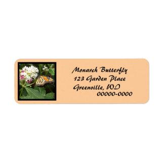 Orange Yellow Butterfly Pink White Flowers Return Address Label