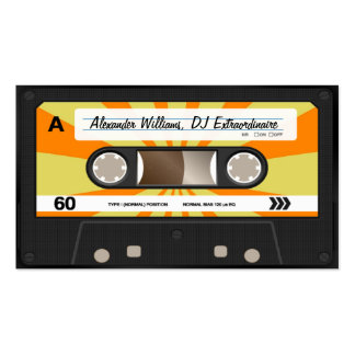 Orange Yellow Cassette Tape Business Card Templates