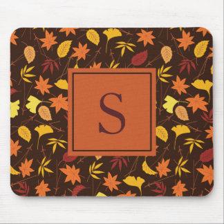 Orange Yellow Fall Leaves Monogram Mousepad