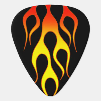 Orange Yellow Flame Graphics Plectrum