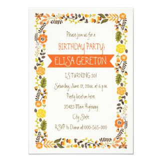 Orange, yellow floral border women birthday party 13 cm x 18 cm invitation card