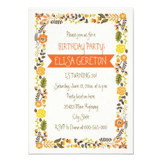 Orange, yellow floral border women birthday party 5x7 paper invitation card
