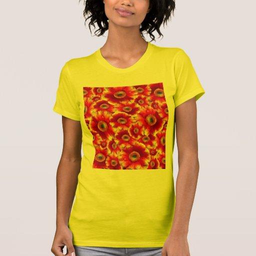 Orange Yellow Floral Color Burst T Shirt