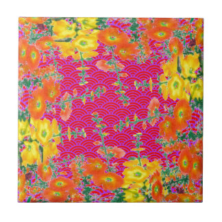 Orange-yellow Floral Pattern Gifts By Sharles Tile