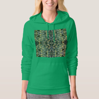 Orange & Yellow Flower Fractal Hoodie Green