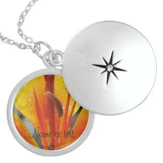 Orange Yellow Flower Round Locket Necklace