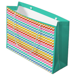Orange Yellow Green Blue and White Chevrons Large Gift Bag