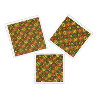 Orange Yellow Green Butterfly Pattern Acrylic Tray