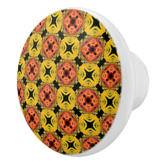 Orange, Yellow, Green Geometric Abstract Pattern Ceramic Knob
