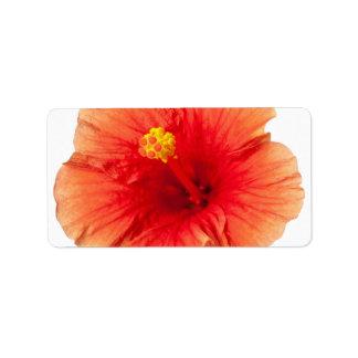 Orange Yellow Hibiscus Tropical Flower Hawaiian Address Label