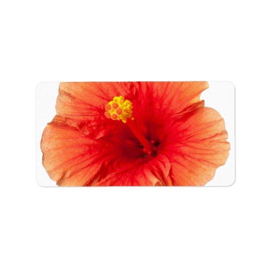 Orange Yellow Hibiscus Tropical Flower Hawaiian Label
