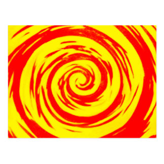 Orange & Yellow Hypnotic Swirl Art Postcard